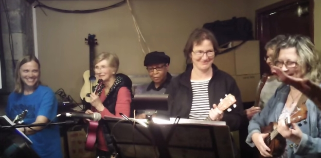 """The """"Brookfield Ukers"""" performing at the Bytown Ukulele Group"""